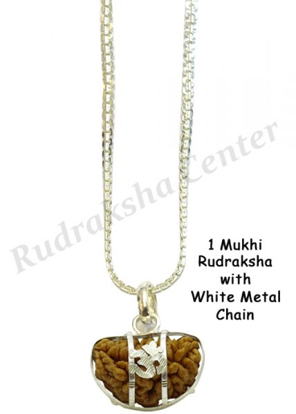 One Mukhi Rudraksha with White Metal Chain