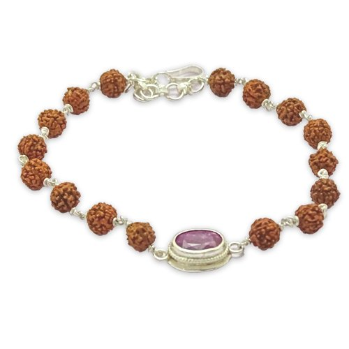 Rudraksha & Gem Bracelet for Leo