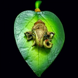 Ganesha Idol on Leaf