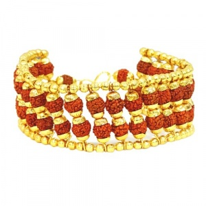 Rudraksha Bracelet with Golden Caps